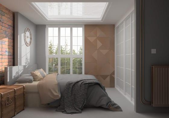 ArtiCAD Grey & Copper Bedroom render