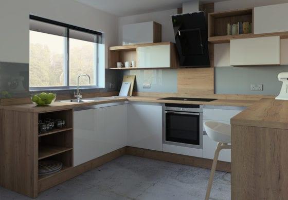 ArtiCAD White and Wooden Kitchen
