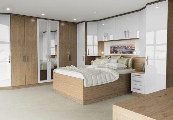 ArtiCAD Gloss White & Wood Bedroom render