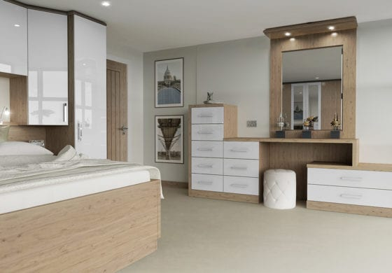 ArtiCAD White Gloss & Wood Bedroom render