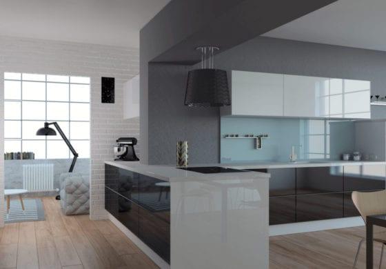 ArtiCAD Gloss Black and White Kitchen