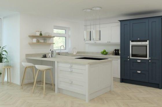 ArtiCAD White and Navy Kitchen