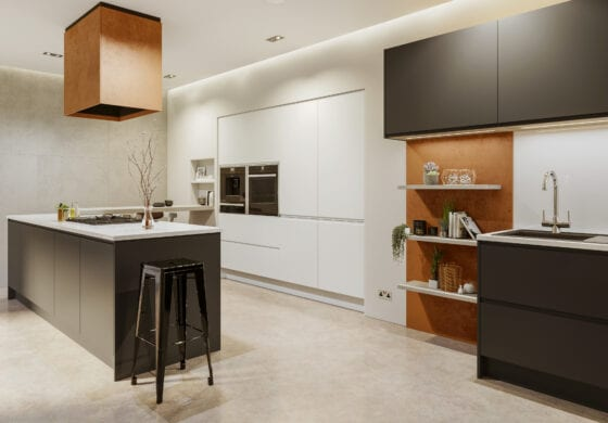 CGI white & brown kitchen