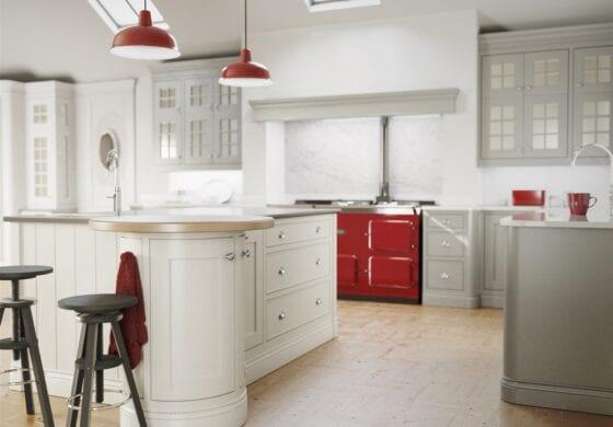 CGI white & red kitchen