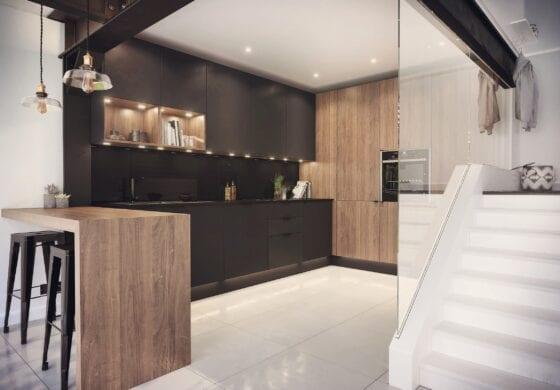 CGI brown kitchen