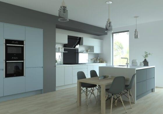 ArtiCAD White and Light Blue Kitchen