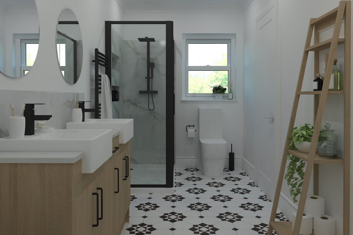 ArtiCAD Black Fixture Bathroom render