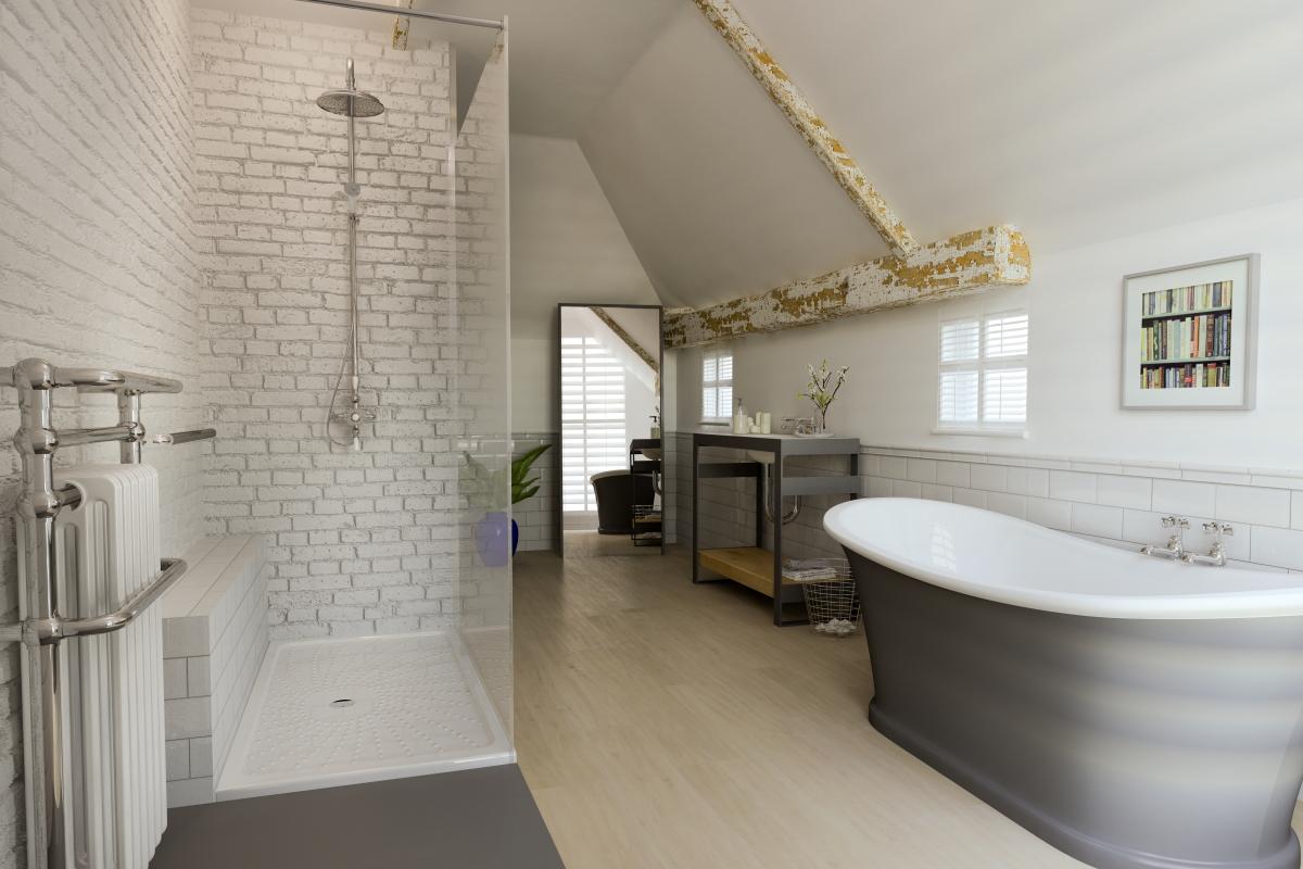 ArtiCAD White Brick Bathroom render