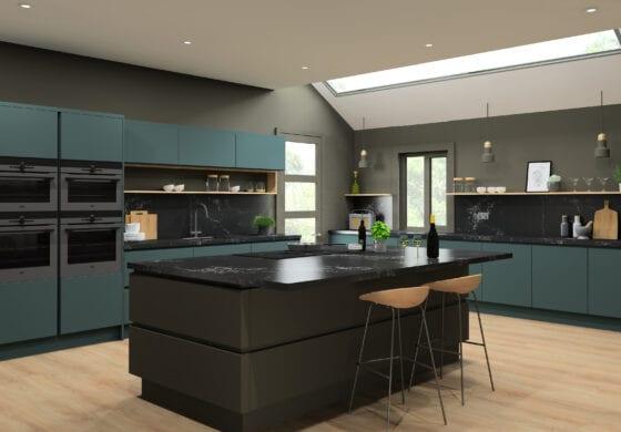 ArtiCAD Green and Black Kitchen