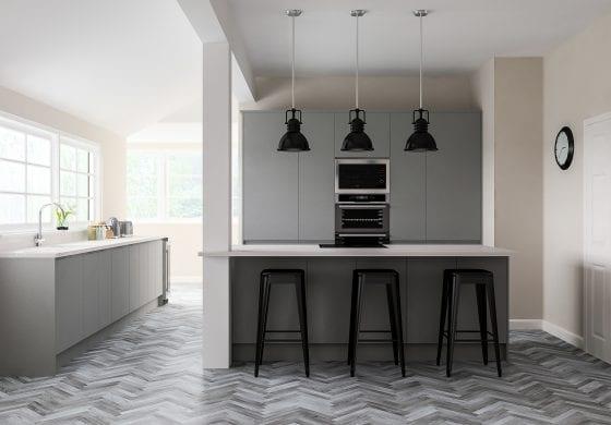 Grey Slab Kitchen by Wilson Interiors